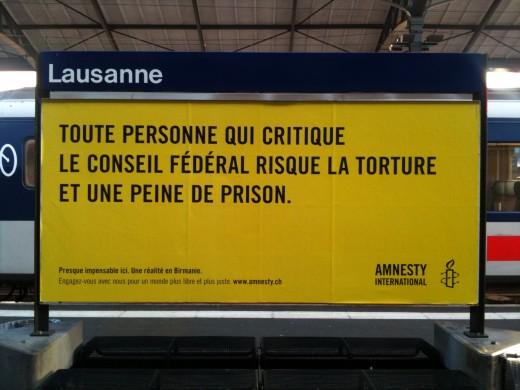 Affiche Amnesty international suisse - Torture, conseil fédéral