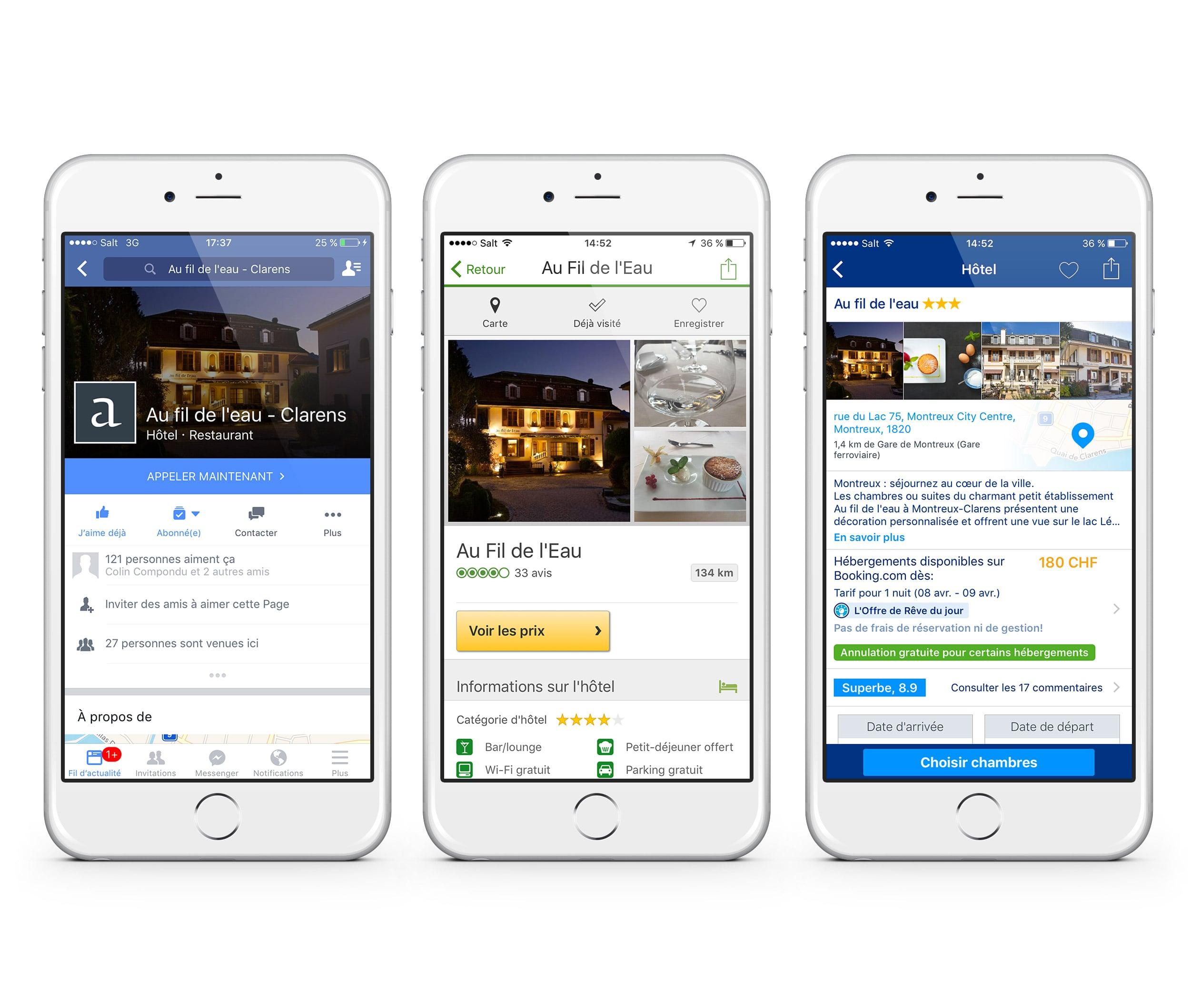Au fil de l'eau on Facebook, TripAdvisor and Booking